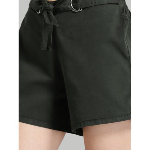 Roadster Women Black Solid Regular Fit Regular Shorts