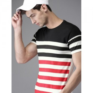 HERE&NOW Men White & Red Striped Round Neck T-shirt