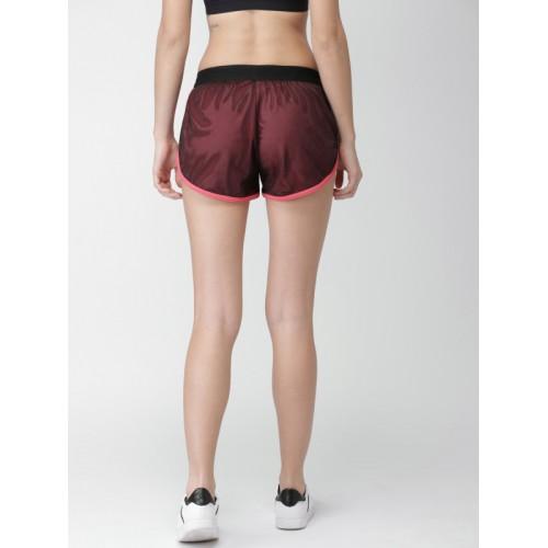 Mast & Harbour Women Black Self Design Regular Fit Sports Shorts