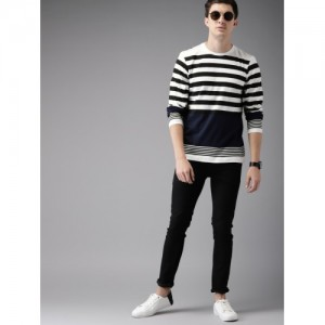 HERE&NOW Men White Striped Round Neck T-shirt