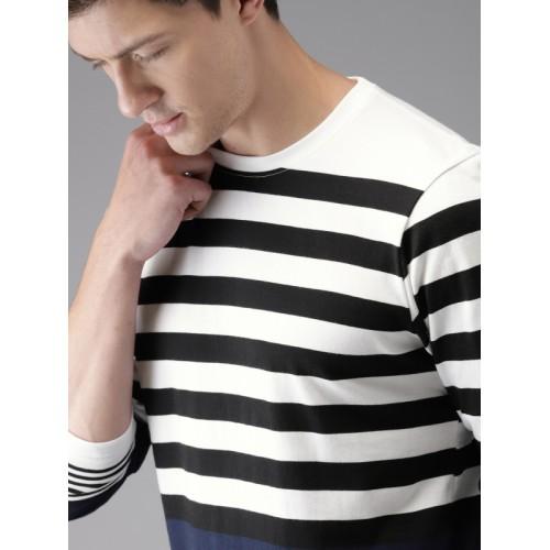 HERE&NOW Men White Striped Round Neck T-shirt