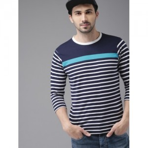 HERE&NOW Men White & Navy Blue Striped Round Neck T-shirt