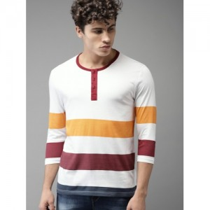 HERE&NOW White Striped Henley T-Shirts