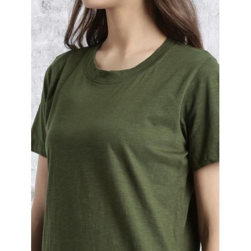 Roadster Women Olive Green T-shirt