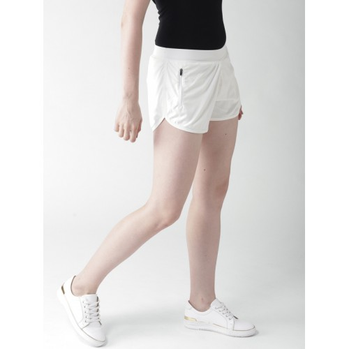 Mast & Harbour Women Off-White Solid Regular Fit Shorts
