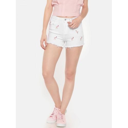 Deal Jeans Women White Self Design Regular Fit Denim Shorts