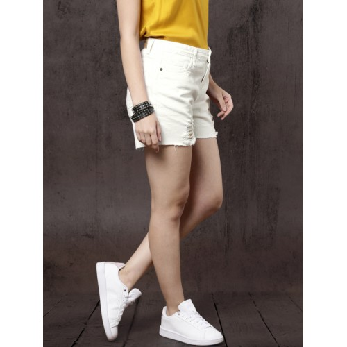 Roadster Women White Solid Regular Fit Distressed Denim Shorts