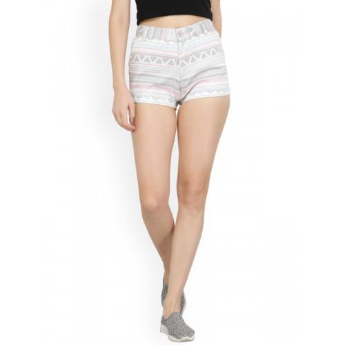 Purplicious Women White Printed Slim Fit Hot Pants