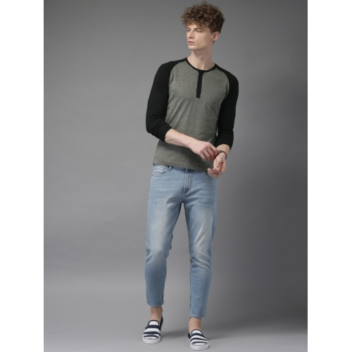 HERE&NOW Men Grey Melange Solid Henley Neck T-shirt