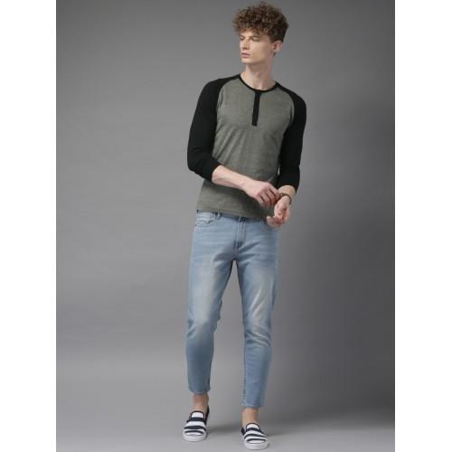HERE&NOW Men Grey Melange Solid Henley Neck T-shirt