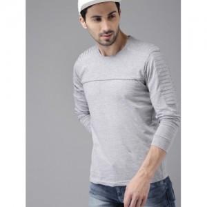 HERE&NOW Men Grey Lightweight Solid Round Neck T-shirt
