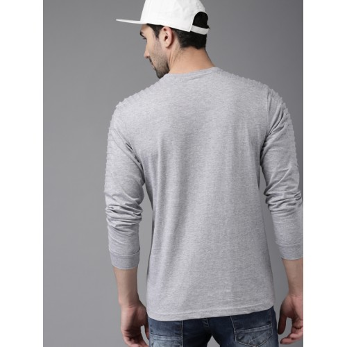 HERE&NOW Men Grey Lightweight Solid Round Neck T-shirt