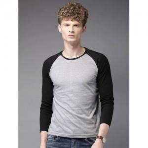 HERE&NOW Men Grey & Black Solid Round Neck T-Shirt
