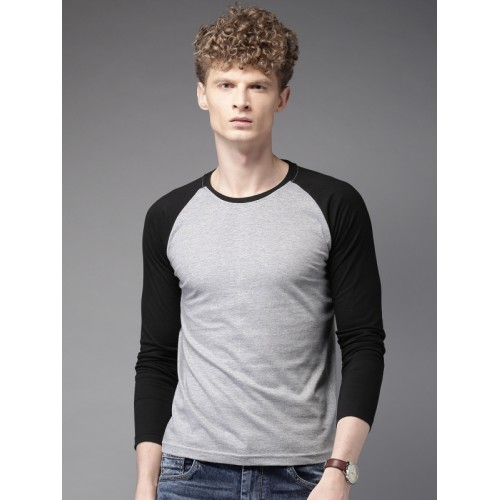HERE&NOW Men Grey & Black Solid Round Neck T-Shirt