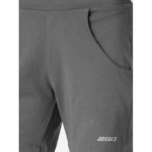 2GO Women Charcoal Grey Solid Regular Fit Active Essential Shorts