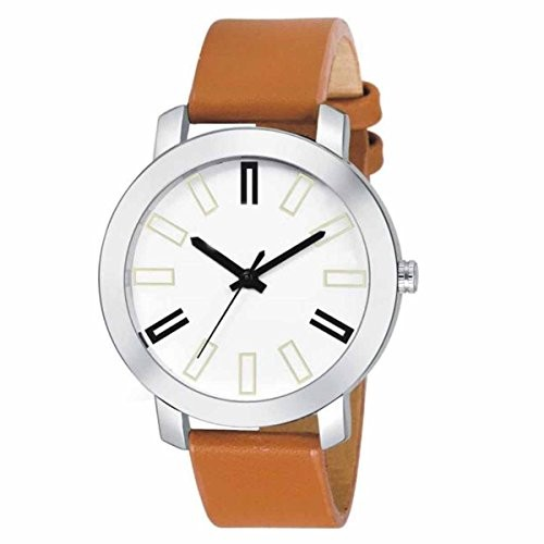 Latest Fashionable Unique Round Analog White Dial Brown Leather Belt Watch Casual / Formal Watch For Men / Boys