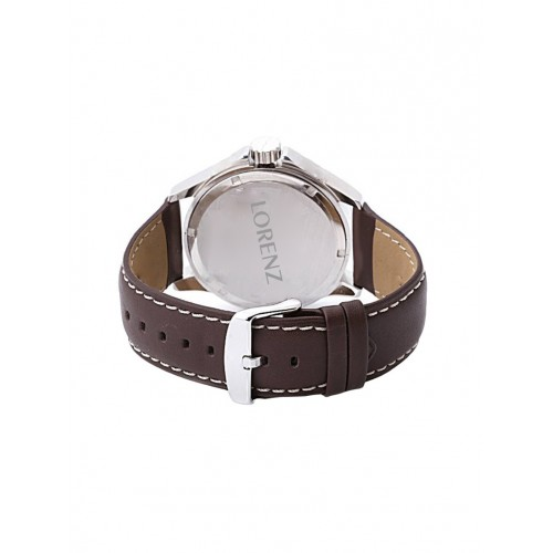 Lorenz MK-1057A F.track Style White Colored Analog Watch with Dark Brown Strap