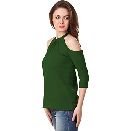 92cd5c8e57bbd8 ... POISON IVY Women Solid Color Cold Shoulder neck 3 4 sleeve Military  Green tops ...