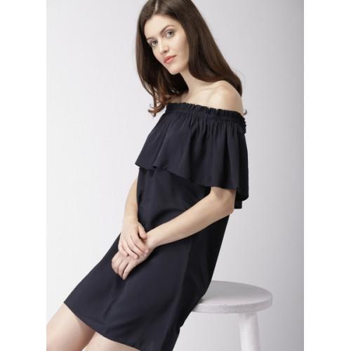 12f84837c06 Buy Mast & Harbour Women Navy Blue Solid A-Line Dress online ...