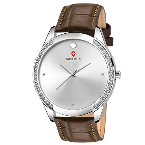 Svviss Bells Premium Silver Dial Brown Leather Strap High Quality Analog Wrist Watch for Men