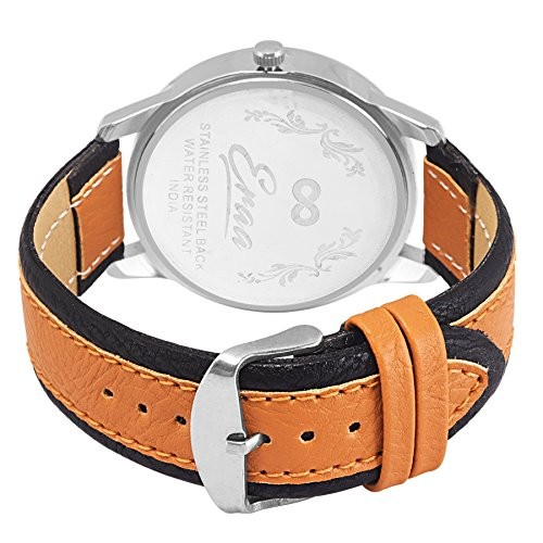 Eraa White and Brown Day & Date wrist watch for men