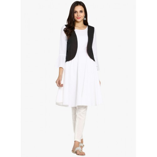 Abhishti White Solid Kurta With Jacket