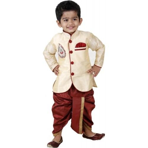 09f97905d Buy FTCBazar Beige   Maroon Silk Baby Boy s Dhoti   Kurta Set ...