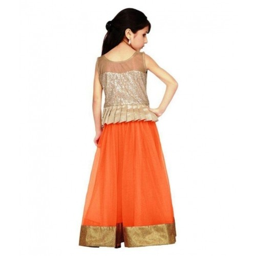 New Arrival Designer Orange Net Partywear Kids Lehenga Choli (28 Inches)