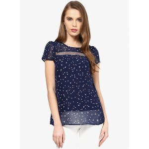 109°F Navy Blue Printed Blouse