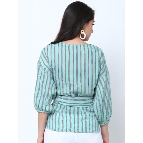Tokyo Talkies Women Sea Green Striped Top