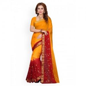 Ishin Yellow & Red Poly Chiffon Woven Design Saree