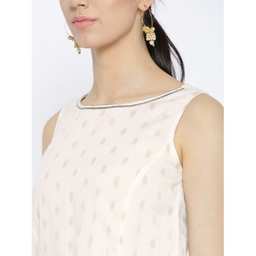 AURELIA Women White & Golden Printed Straight Kurta