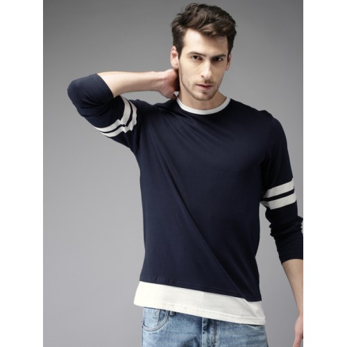 HERE&NOW Men Navy Blue Solid Round Neck T-shirt