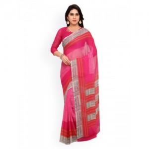 Vaamsi Pink Printed Pure Chiffon Saree