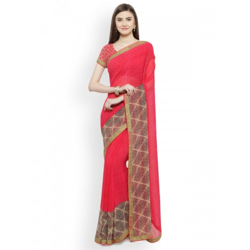 64ec32b7e7 Buy Shaily Pink Printed Satin Saree online | Looksgud.in