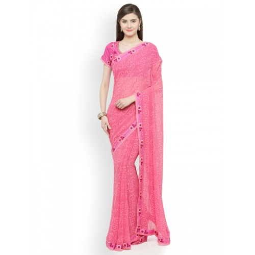 fec232405 Buy Shaily Pink Printed Pure Georgette Saree online