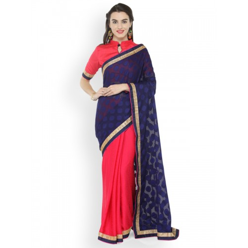 Kvsfab Pink & Blue Poly Georgette Woven Design Saree