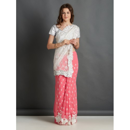 5d3a8ddcf1e57f Buy Mitera Pink & White Polycotton Embroidered Saree online ...