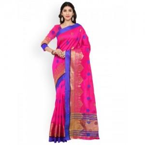 Bhelpuri Pink Silk Blend Woven Design Tussar Saree