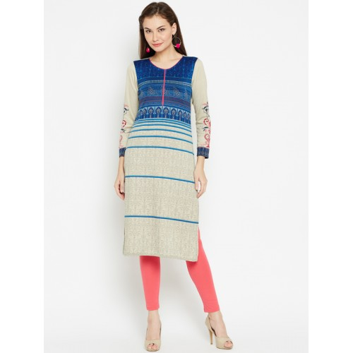 AURELIA Women Blue & Beige Printed Straight Kurta