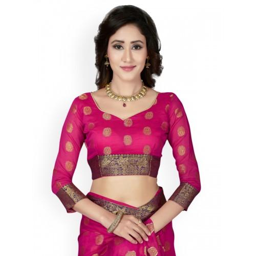 Saree Swarg Woven Banarasi Cotton Saree(Pink)