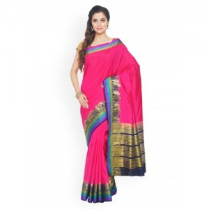 Sudarshan Silks Pink Woven Design Silk Blend Saree