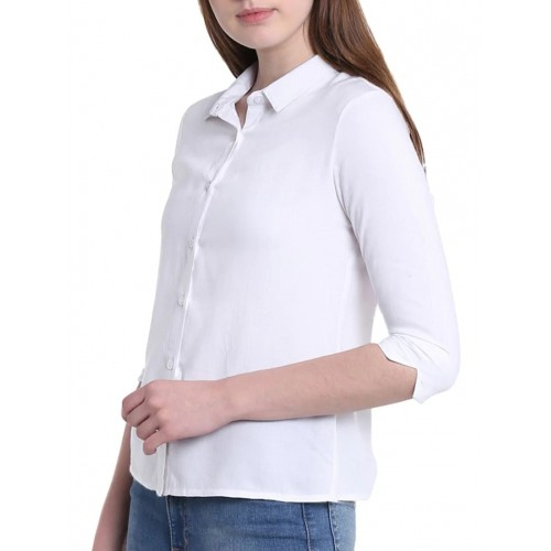 G J COUTURE white solid shirt