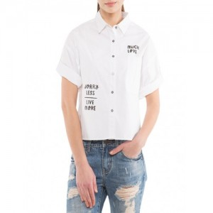 Tokyo Talkies white cotton high low shirt
