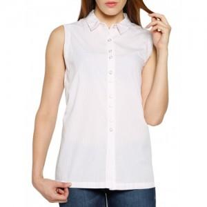 Tokyo Talkies white striped cotton regular shirt