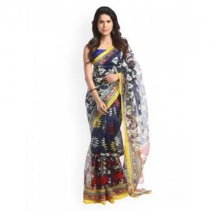 Chhabra 555 Black & Multicoloured Silk Cotton Printed Saree