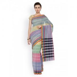 Pavechas Multicoloured Pure Cotton Striped Venkatgiri Saree