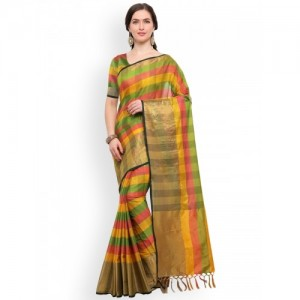 Blissta Multicoloured Checked Silk Cotton Saree