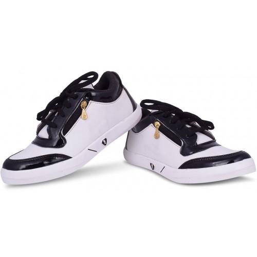 Butchi Men's White Lace-up Casual Shoes