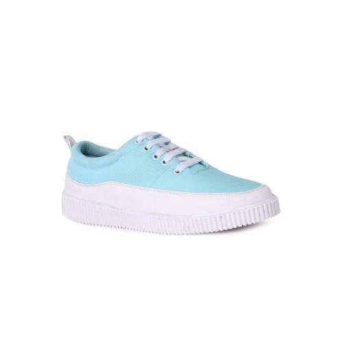 Shoemate light blue leatherette lace up sneaker